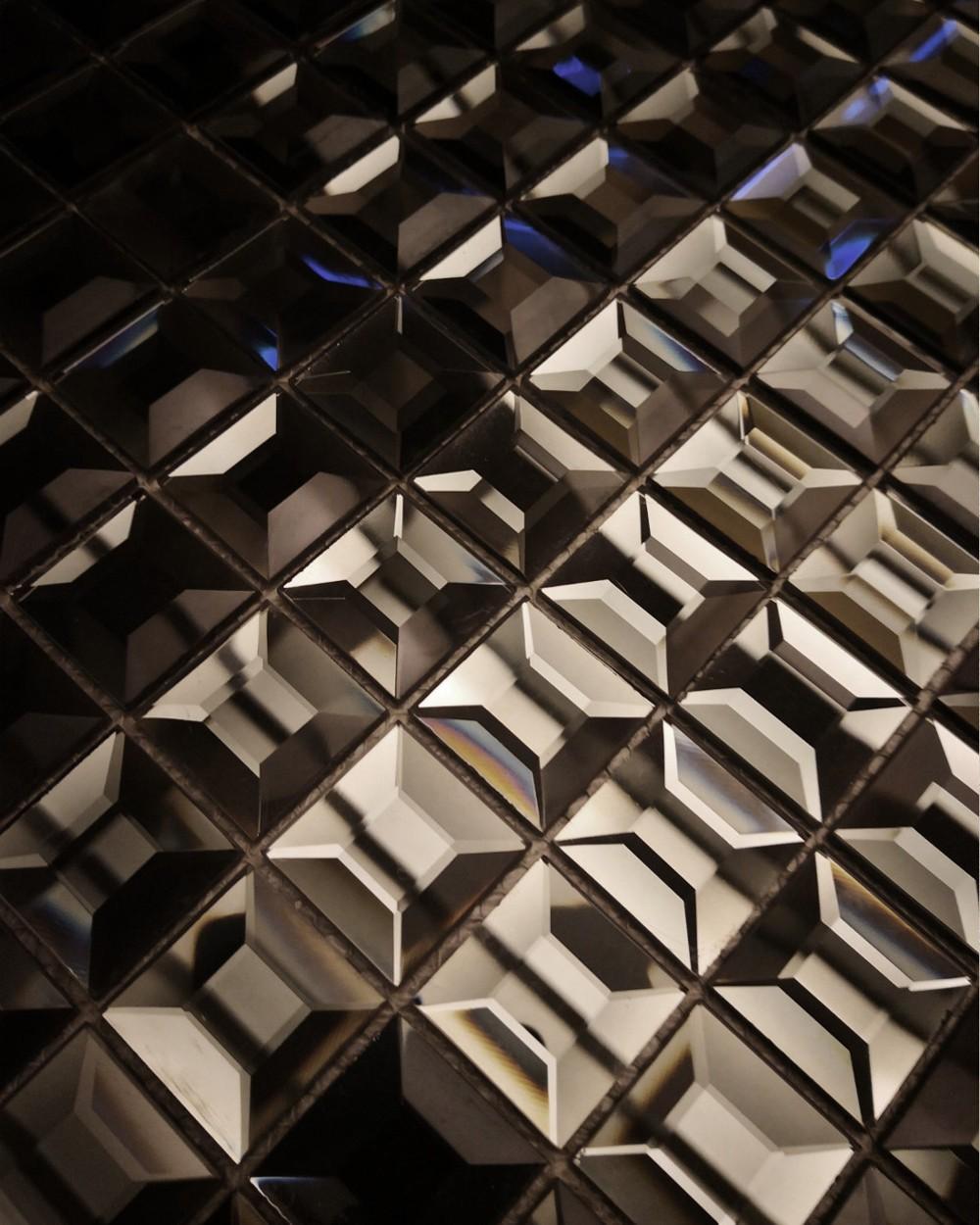 Mosaikfliesen Diamant Optik Schwarz