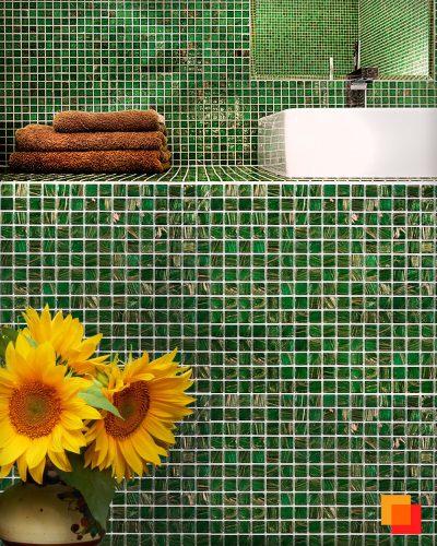 Gruene Mosaikfliesen Glasmosaik gruen