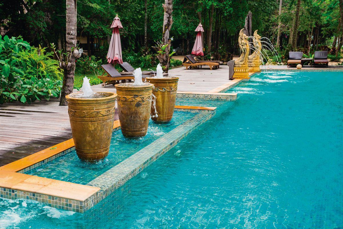 Mosaik für Pool blau