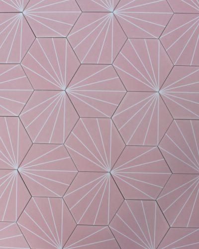 geometrische Fliesen rosa hexagon pink sechseck