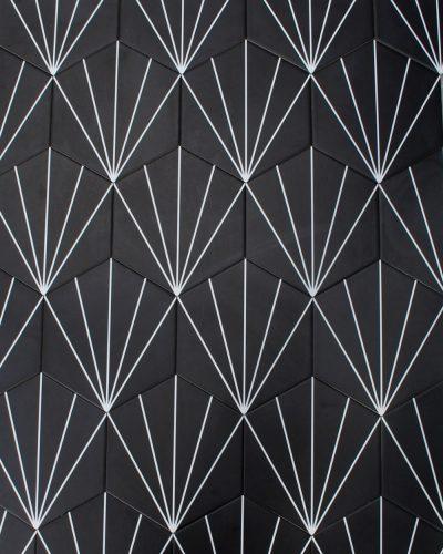 geometrische Fliesen schwarz hexagon